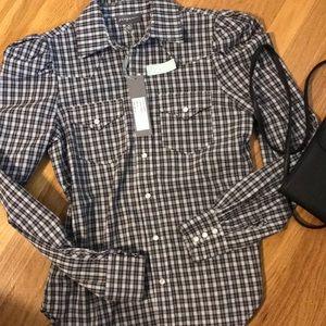 Greysn NWT check button up shirt S